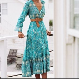 Arnhem Aphrodite Maxi Dress Jade Green Blue Size 8